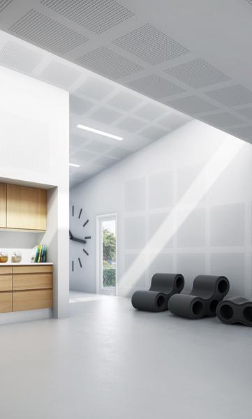 """Harmonische Verbindung von Akustik und Design: Die großformatige """"Rigiton Big Sixto 63"""" eignet sich insbesondere für öffentliche Gebäude mit viel Publikumsverkehr wie zum Beispiel Museen, Konzerträume oder Schulen."""
