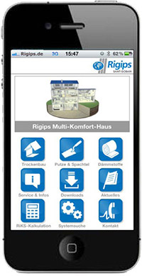 Kostenlose Rigips-APP für iPhones und Android-Smartphones sowie für iPads