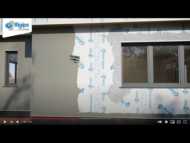 Fassadenputz-Beschichtung mit Rigips Glasroc X für Außenwände im Holzbau